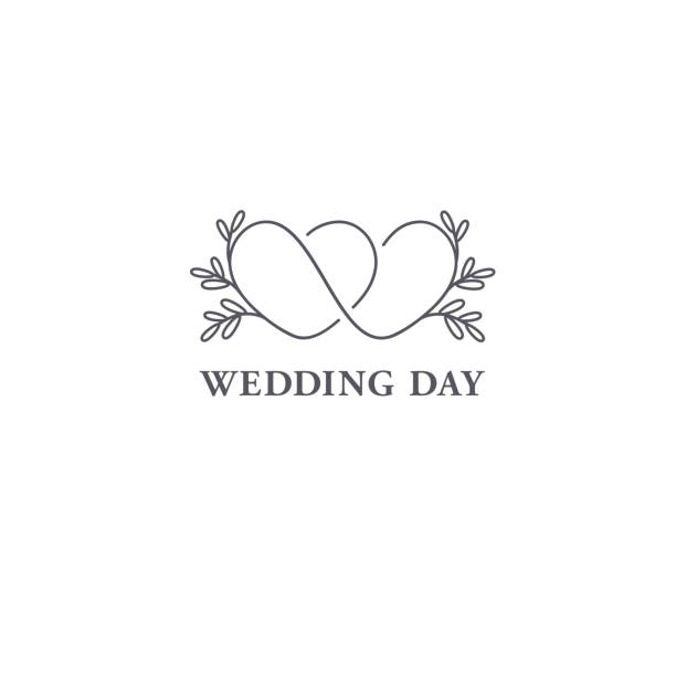 illustrazioni stock, clip art, cartoni animati e icone di tendenza di vector design template. wedding symbol concept. - matrimonio