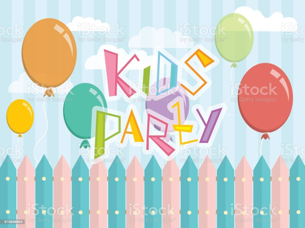 vector design template with balloons and the words kids party