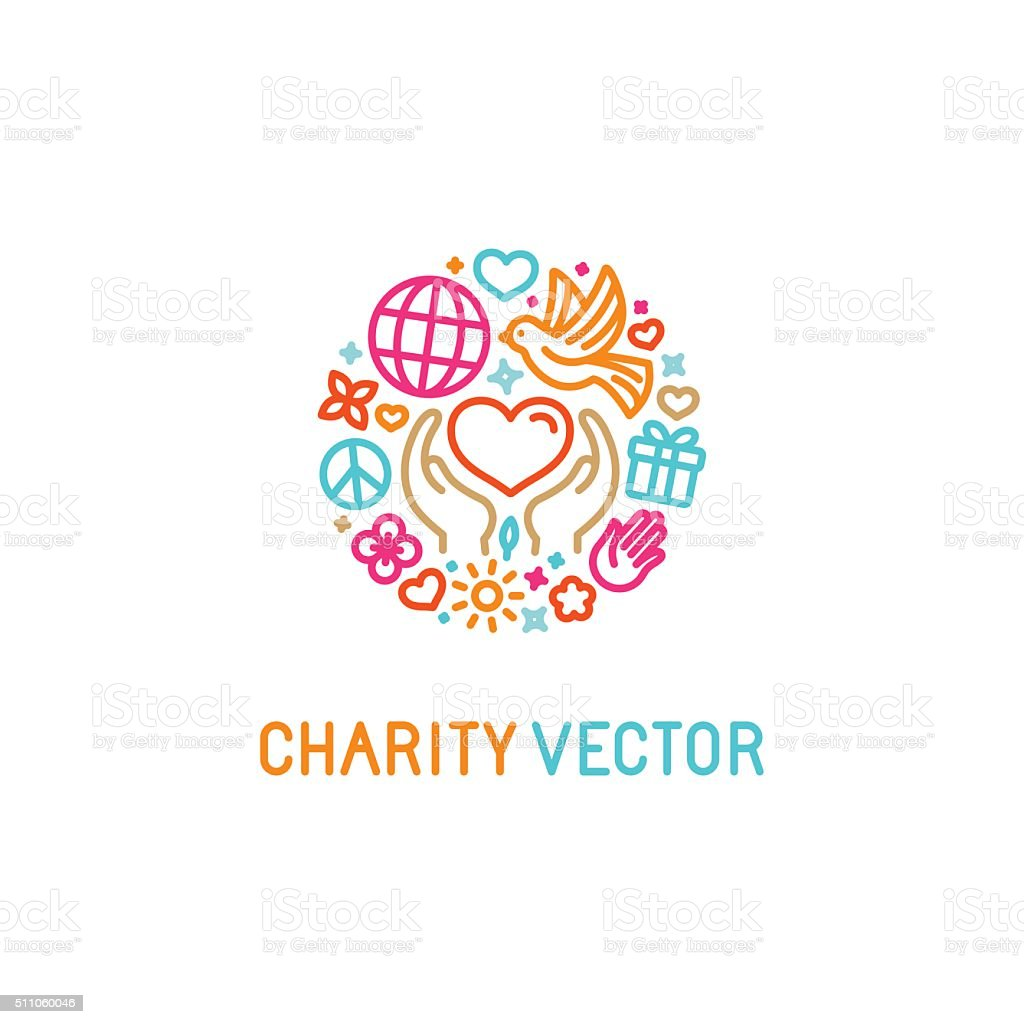 Vector design template with icons in trendy linear style