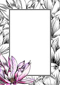 Vector Design Template With Magnolia Flowers,  Watercolor and Pen and Ink Elements