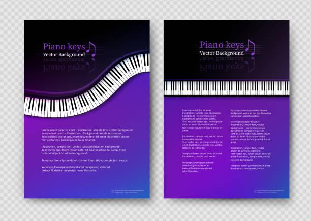 bildbanksillustrationer, clip art samt tecknat material och ikoner med vektor design mall med piano tangenter - piano