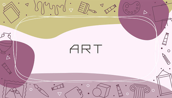 Vector design templates for Art in simple modern style with line crafts elements
