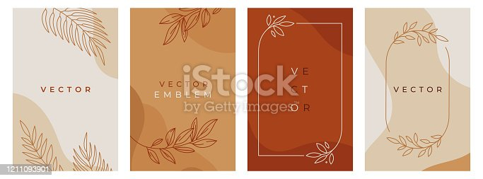 istock Vector design templates in simple modern style with copy space for text, flowers and leaves - wedding invitation backgrounds and frames, social media stories wallpapers, luxury stationery and greeting card designs 1211093901