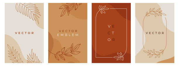 Vector design templates in simple modern style with copy space for text, flowers and leaves - wedding invitation backgrounds and frames, social media stories wallpapers, luxury stationery and greeting card designs Vector design templates in simple modern style with copy space for text, flowers and leaves - wedding invitation backgrounds and frames, social media stories wallpapers, luxury stationery and greeting card designs organic stock illustrations