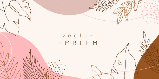 Vector design templates in simple modern style with copy space for text, flowers and leaves - wedding invitation backgrounds and frames, social media stories wallpapers, luxury stationery and greeting card designs vector art illustration