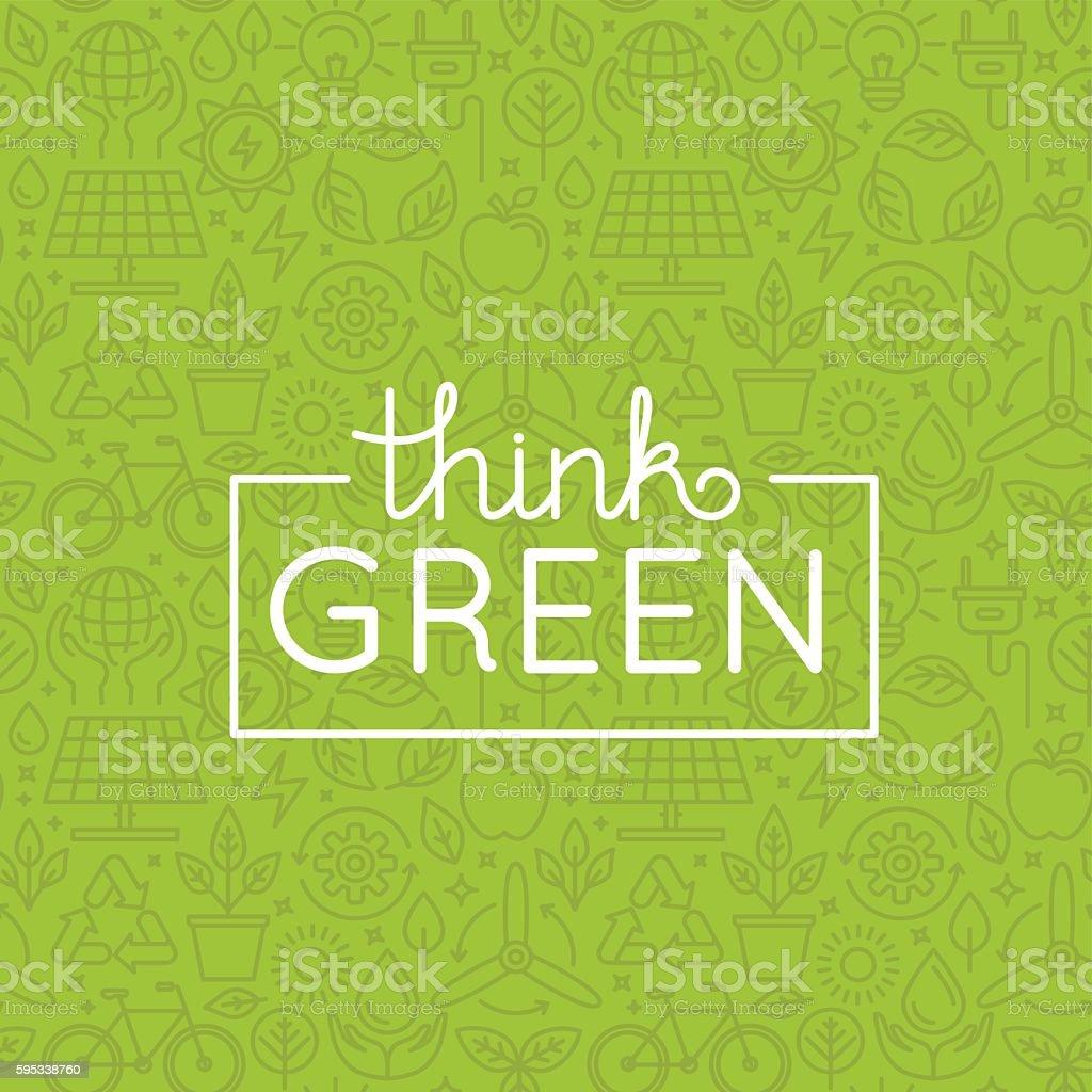 Vector design - think green vector art illustration