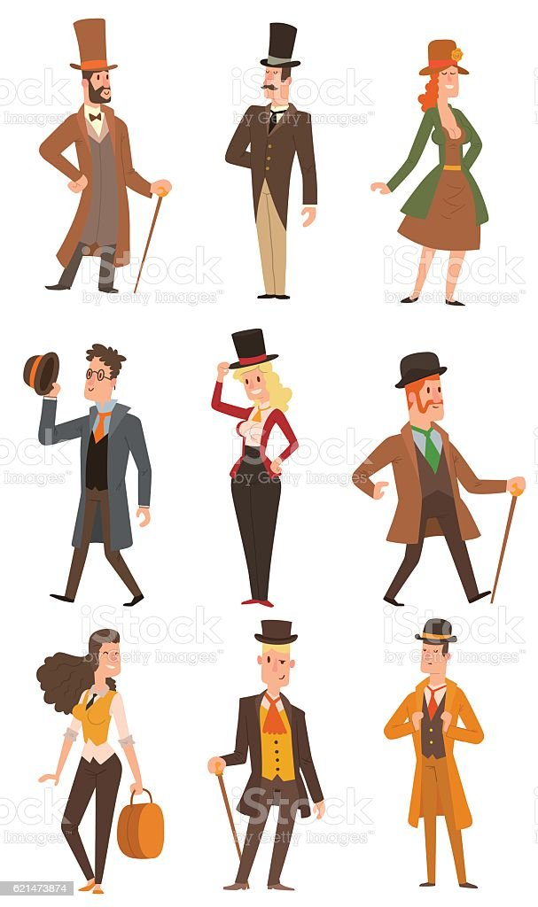 Vector design victorian people. – Vektorgrafik