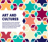 Art and cultures colorful abstract graphic design with minimal background pattern. This vector template is ready for use in web or print designs.