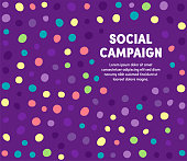 Social campaign colorful abstract graphic design with minimal background pattern. This vector template is ready for use in web or print designs.