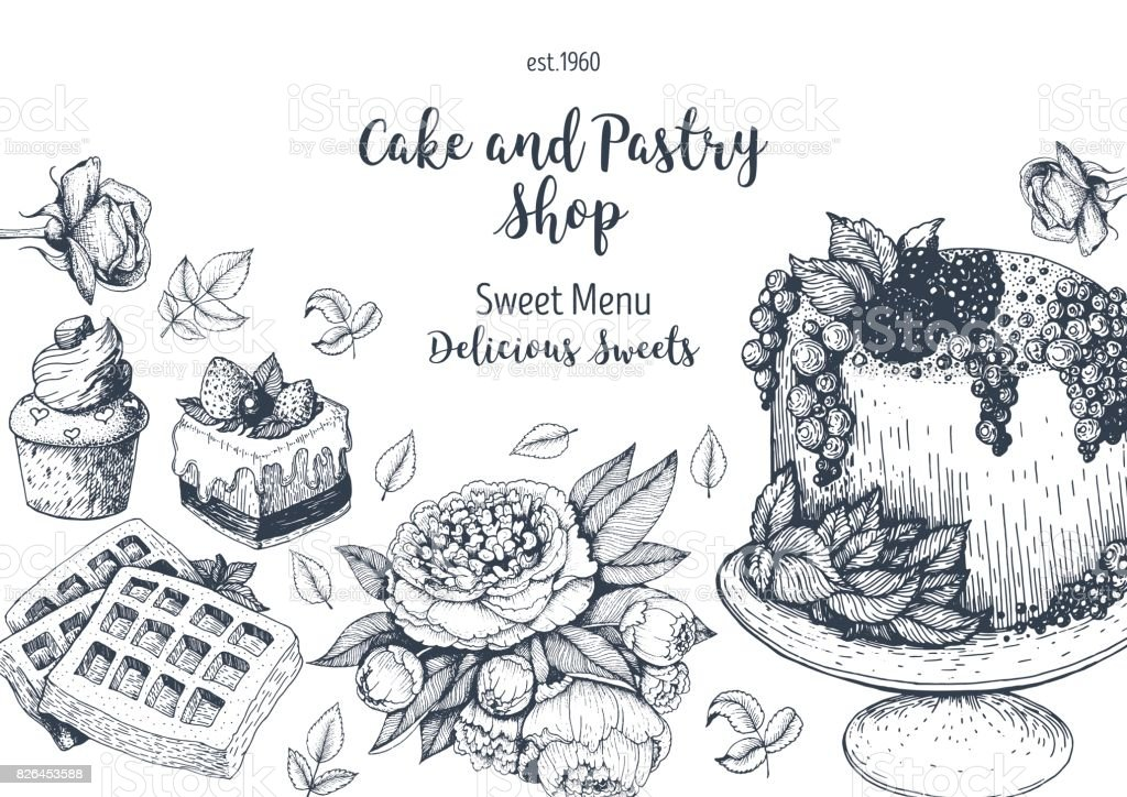 Vector Design With Hand Drawn Cake Pie Ice Cream And Wafers Vintage