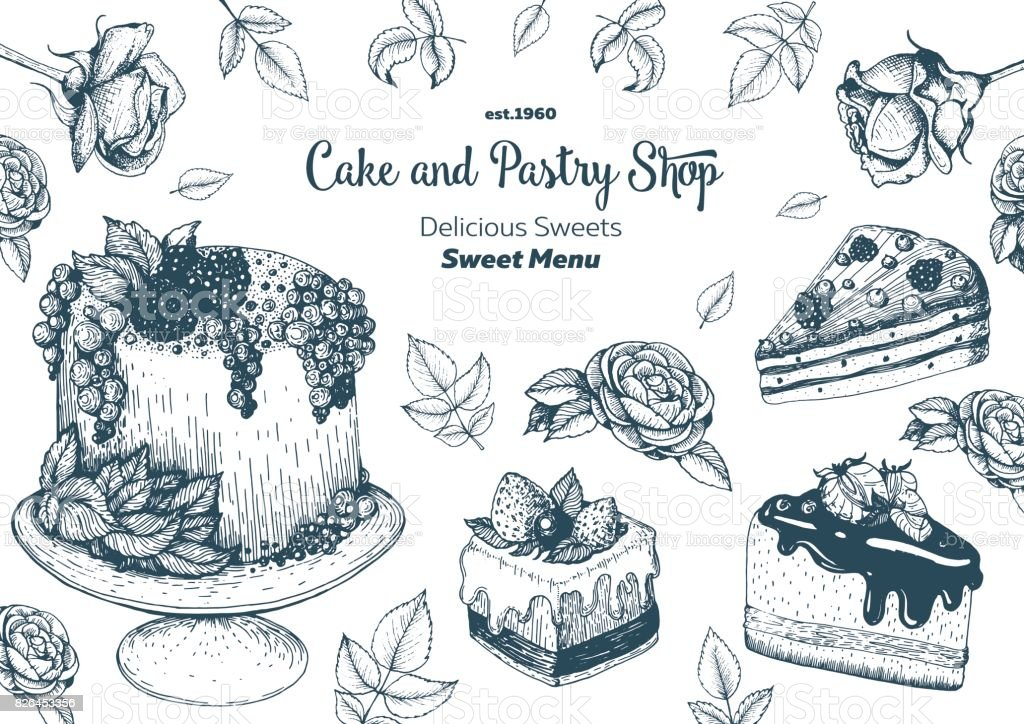 Vector design with hand drawn cake, pie, ice cream. Vintage template for bakery menu or sweet home shop. Background with dessert sketch. Vector illustration in retro Linear style. vector art illustration