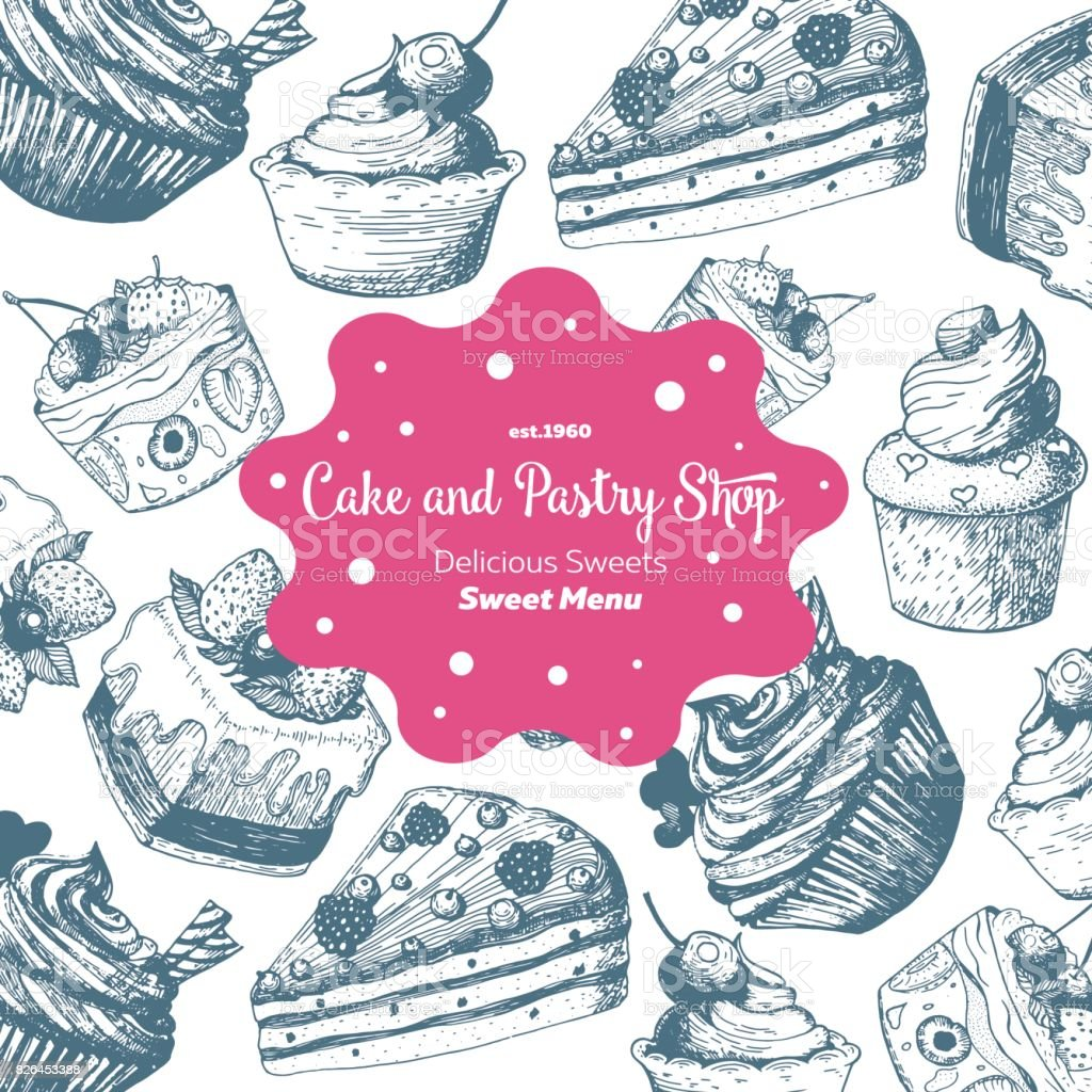 Vector Design With Hand Drawn Cake Pie Ice Cream Vintage Template