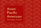 istock Vector design with red Japanese wavy background. Text - Asian Pacific American Heritage Month. Poster for recognizing of culture and achievements by these ethnic groups in US history. Gold frame 1300949475