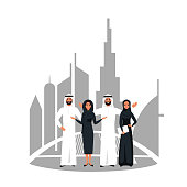 Vector Design with successful creative business team of  Muslim people working together on a joint project in Dubai. Multicultural Group of young women and men standing together at startup