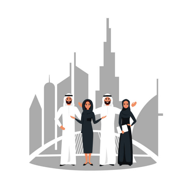 vector design z udanym kreatywnym zespołem biznesowym muzułmańskich pracujących razem nad wspólnym projektem w dubaju. - arab stock illustrations
