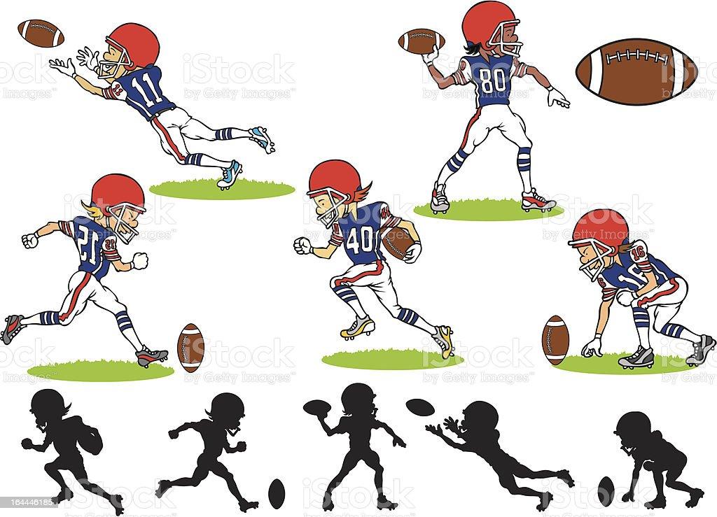 Vector designs of American football players vector art illustration