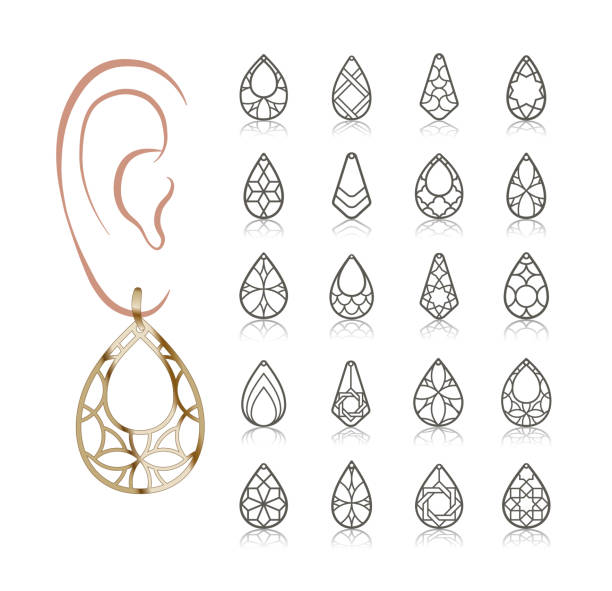 Vector designs of earring 20 Earring Vector Templates. Cutout silhouettes like teardrop. Design is suitable for creating delicate  filigree women jewelry. teardrop stock illustrations
