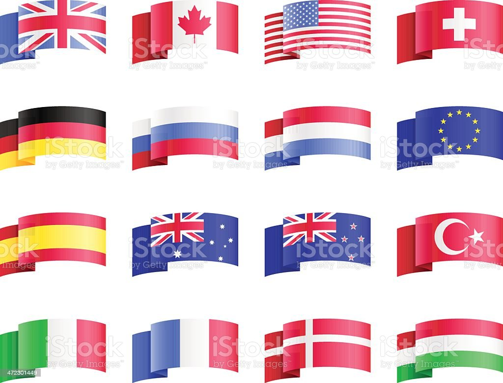 vector designs of multiple country flags stock vector art