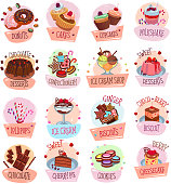 Bakery shop sweets and desserts icons for cafeteria menu. Vector set of berry and fruit cakes, chocolate pies or pastry cookies and biscuits, ice cream or tiramisu and brownie tortes and donuts