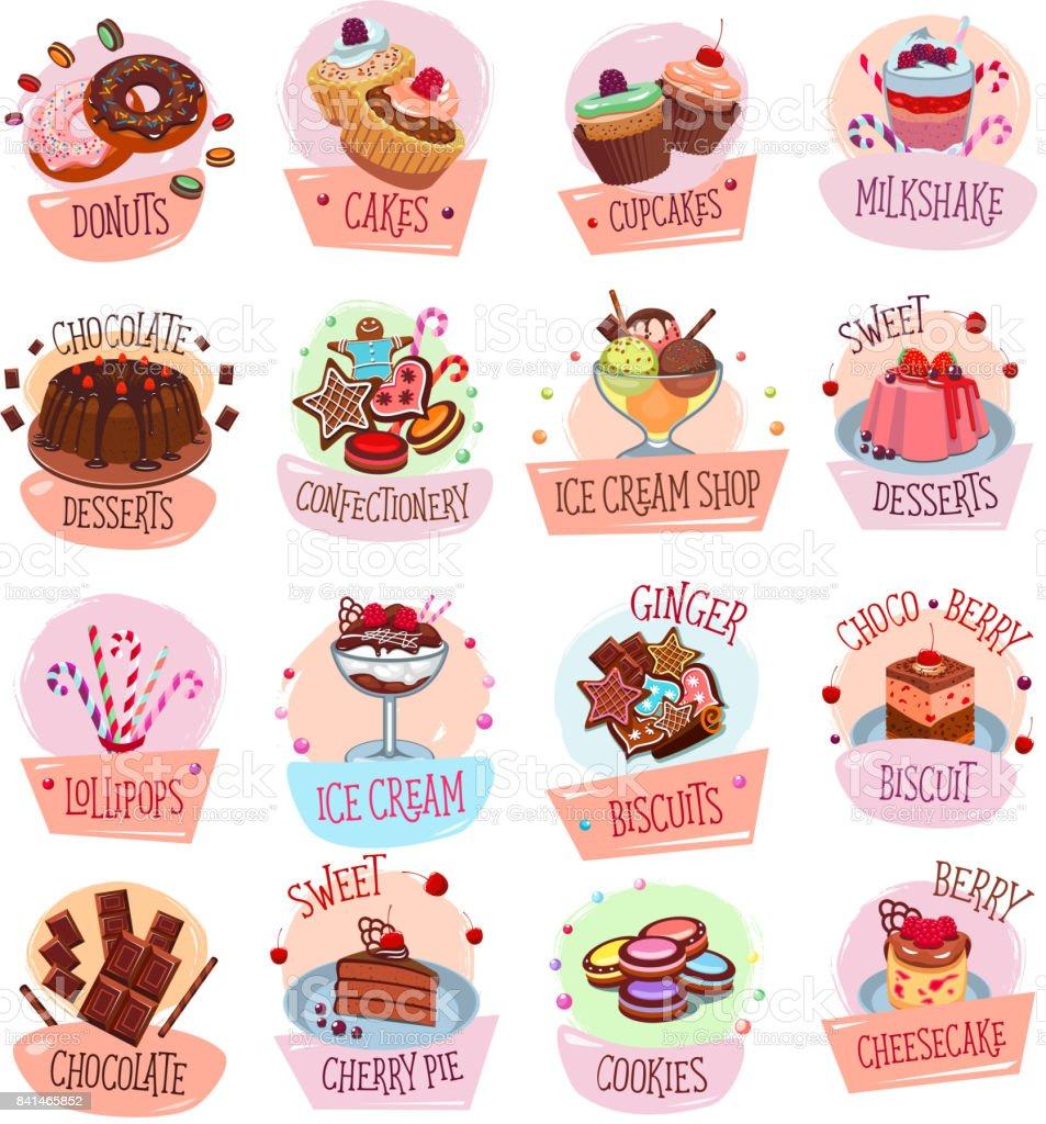Vector postre entre los iconos de panadería tienda café - ilustración de arte vectorial