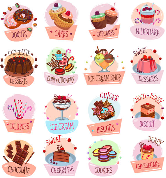 Vector dessert cackes icons for bakery shop cafe vector art illustration