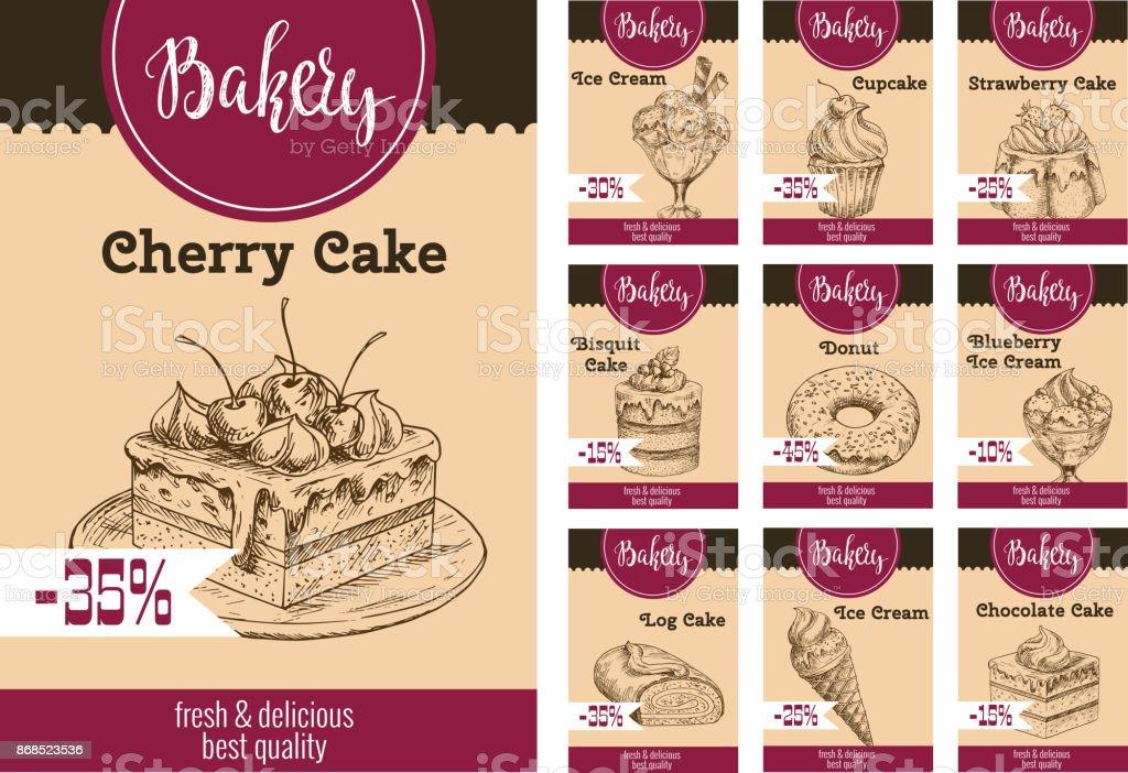 Vector dessert cakes sketch price for bakery vector art illustration