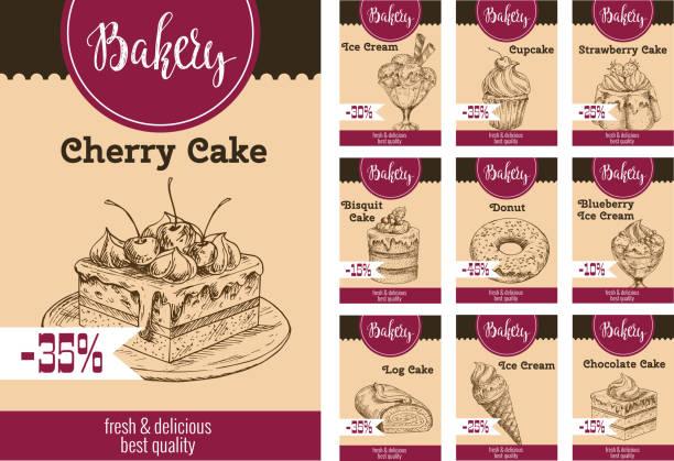 vector dessert kuchen skizzieren preis für bäckerei - tiramisu stock-grafiken, -clipart, -cartoons und -symbole