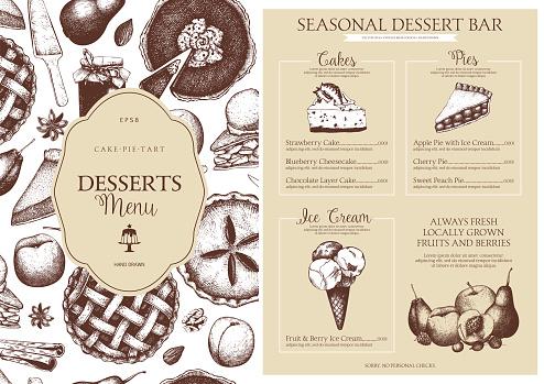 Vector dessert menu design for restaurant or cafe.