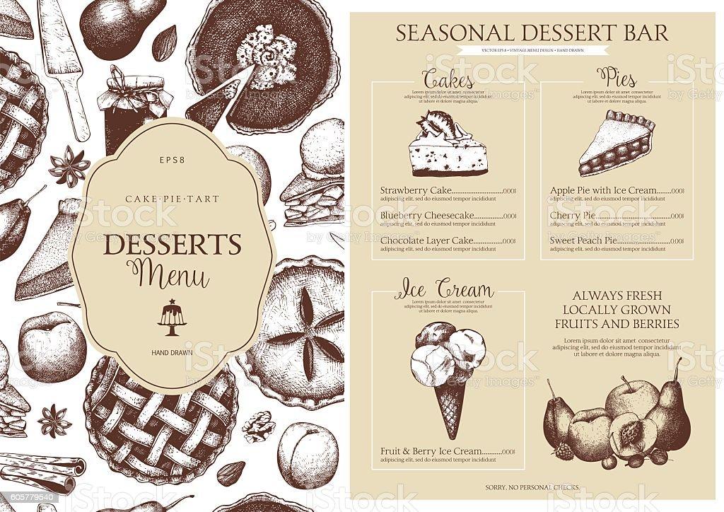 Vector dessert menu design for restaurant or cafe. vector art illustration