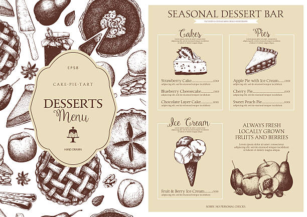 Vector dessert menu design for restaurant or cafe. – Vektorgrafik