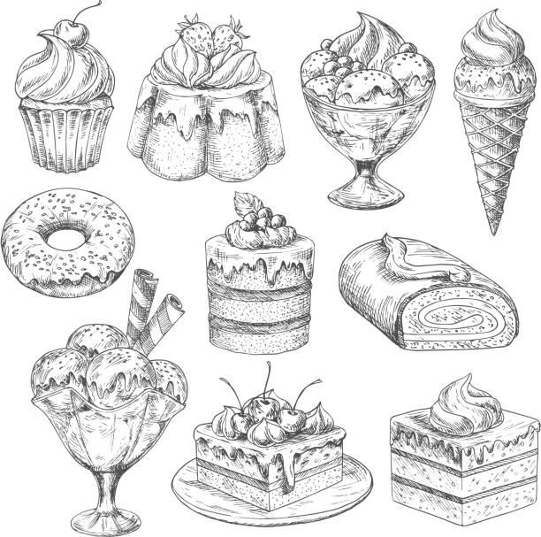 ilustrações de stock, clip art, desenhos animados e ícones de vector desserts and cakes for bakery sketch icons - pudim