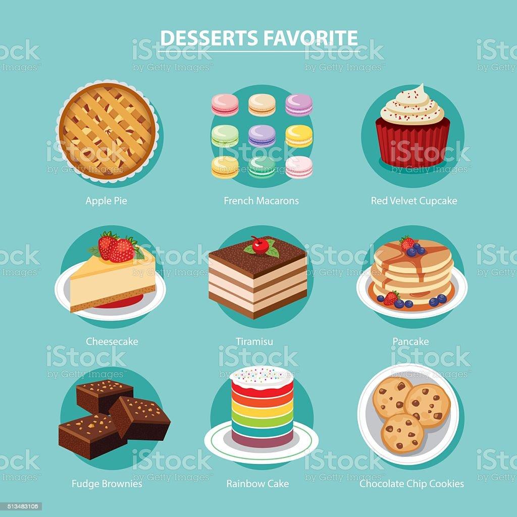 vector desserts favorite set flat design vector art illustration