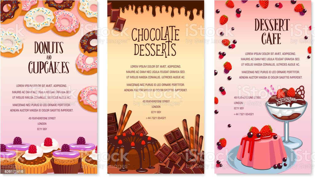 vector desserts menu template for bakery or cafe stock vector art