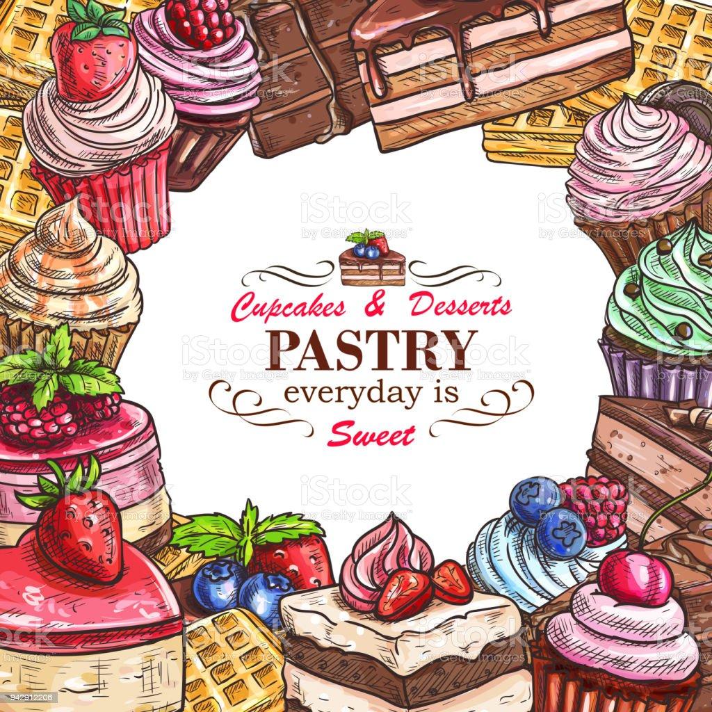 Vector desserts pastry shop sketch poster vector art illustration
