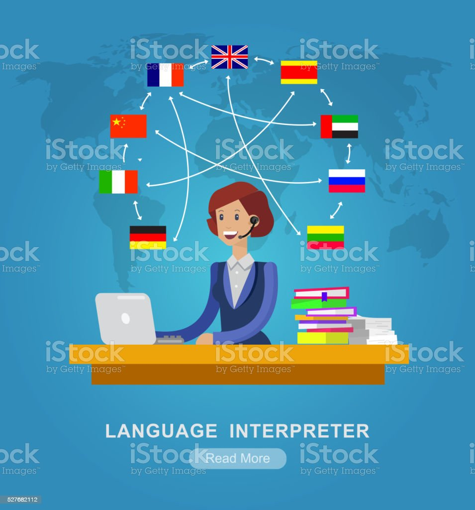 Vektor-Detaillierte Charakter Sprache Übersetzer – Vektorgrafik