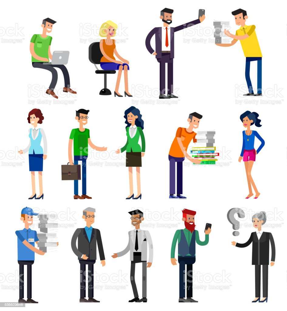 Vector detailed characters people, business vector art illustration