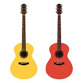 Vector detailed illustration of acoustic guitars in a flat style