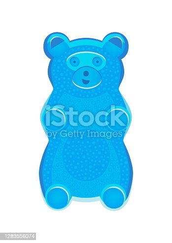Vector detailed illustration of blue gummy bear or jelly bear. Children's fairytale candy. Childlike bear isolated on a white background. Illustration can be also used as a plush toy for children.