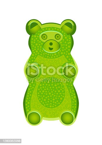 Vector detailed illustration of green gummy bear or jelly bear. Children's fairytale candy. Childlike bear isolated on a white background. Illustration can be also used as a plush toy for children.