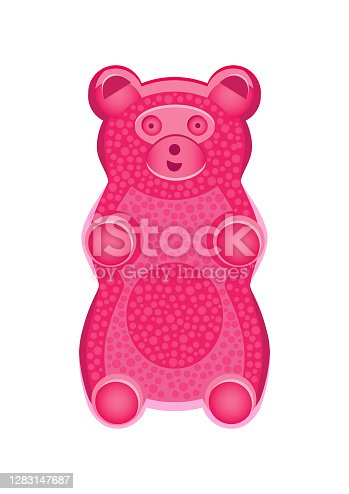Vector detailed illustration of pink gummy bear or jelly bear. Children's fairytale candy. Childlike bear isolated on a white background. Illustration can be also used as a plush toy for children.