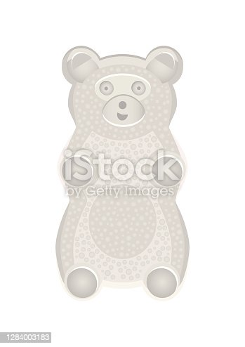 Vector detailed illustration of white gummy bear or jelly bear. Children's fairytale candy. Childlike bear isolated on a white background. Illustration can be also used as a plush toy for children.