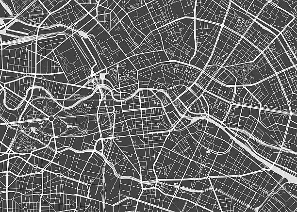 illustrations, cliparts, dessins animés et icônes de vector detailed map berlin - vue aérienne