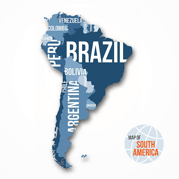 Vector detailed map of South America with borders and countries vector art illustration