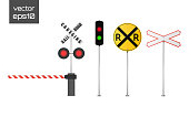 Vector detailed railway warning signs isolated on white background