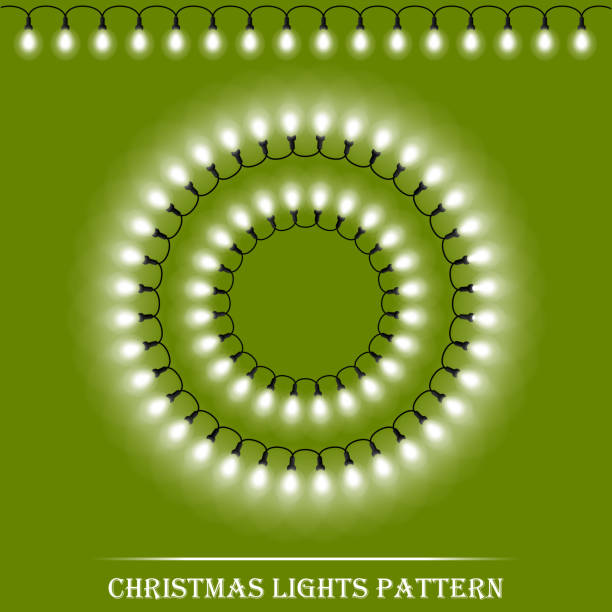 Vector detailed realistic Christmas white lights and circle frames on green background. Vector illustration vector art illustration
