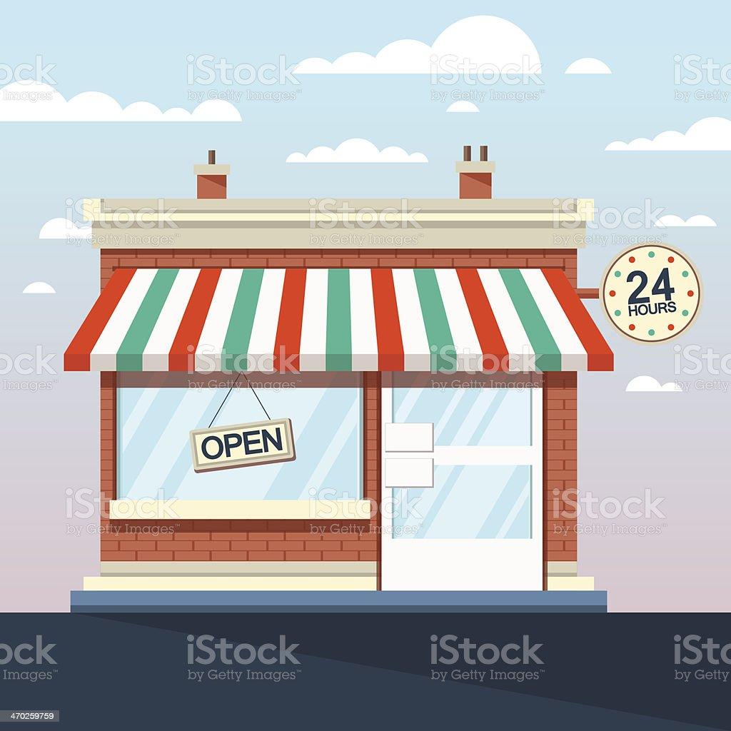 Vector Detailed Shop, Market, Store, Cafe Illustration, Icon vector art illustration