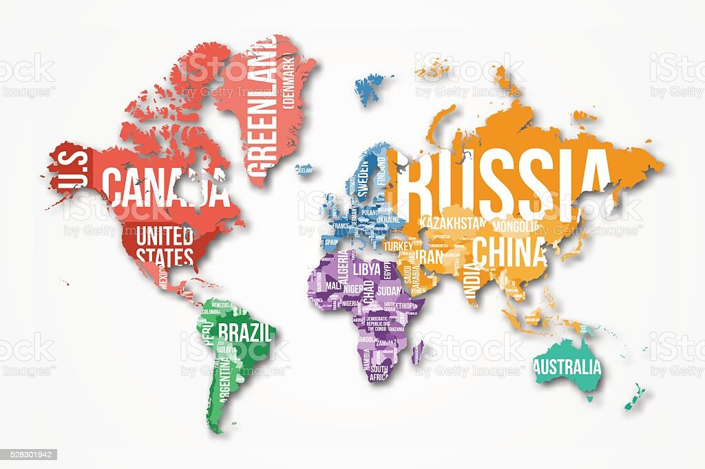 Vector Detailed World Map With Borders And Country Names Stock - World map with names