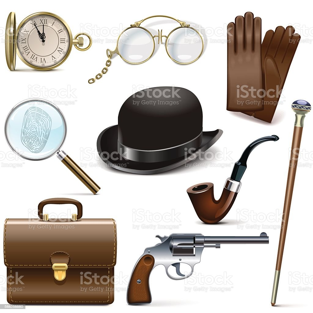 Vector Detective Icons vector art illustration