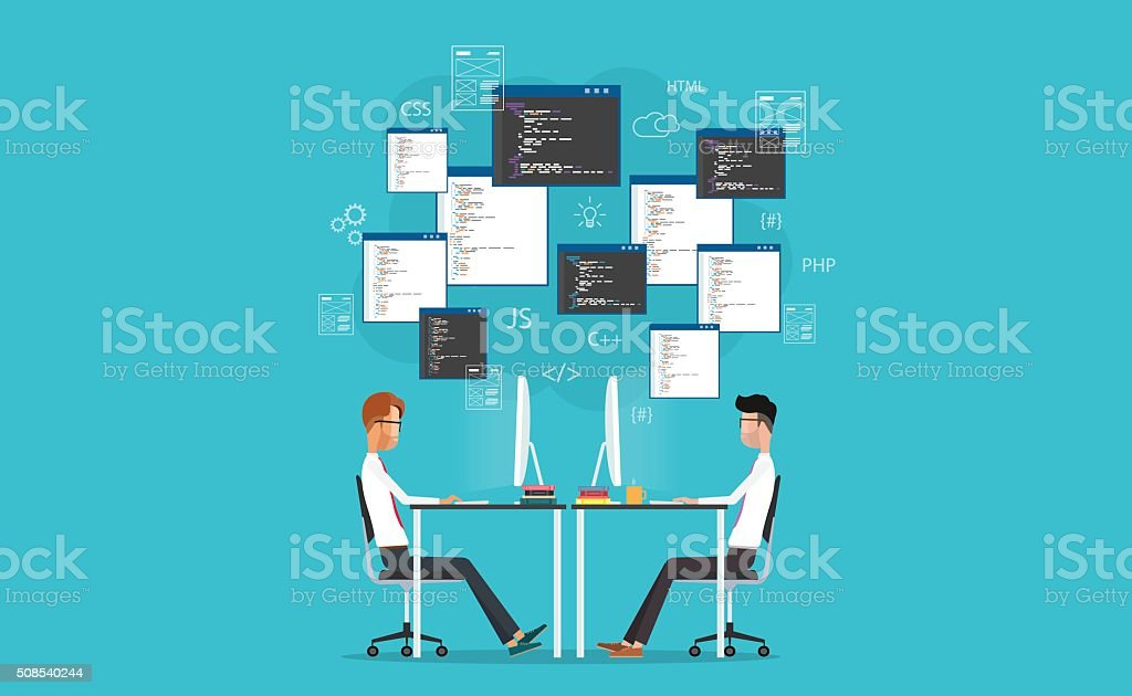 vector developer working on workplace. develop for website and application royalty-free vector developer working on workplace develop for website and application stock illustration - download image now