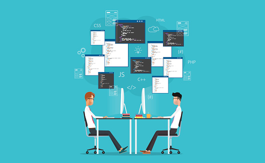 Vector Developer Working On Workplace Develop For Website And Application Stock Illustration - Download Image Now